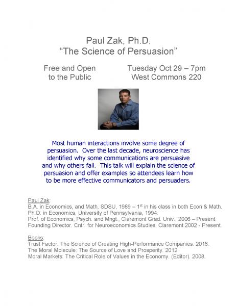Paul Zak Public Lecture