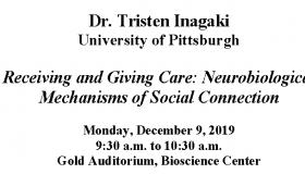 Colloquium: Dr. Tristen Inagaki on Monday, December 9, 2019